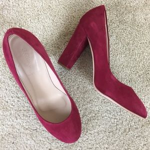 J. Crew Red Suede Heels Made in Italy Size 8.5